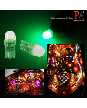 PA 10PCS T10 w5w 2 SMD 2835 LED Wedge Pinball Machine Light Top View Bulb 6.3VDC (White,Green)